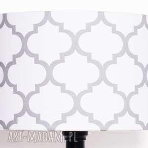 abażur fresh grey-white 40x40x25cm od majunto, koniczyna-marokańska, koniczyna