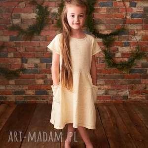sukienka vanilla sugar, bawełna, dziewczynka, sukienka, chwosty, wiosna, wanilia