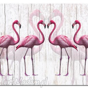 obrazy obraz xxl flaming 2 - 120x70cm na płótnie flamingi, obraz, ptaki