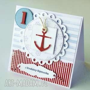 marynarskie zaproszenia na roczek - czerwona zaproszenie, kartka