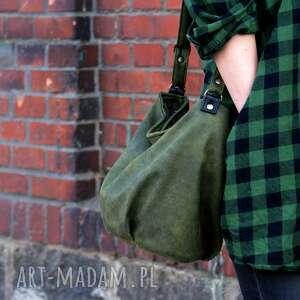 hand-made na ramię mini sak nubuk zieleń