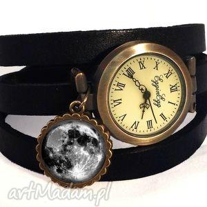 handmade zegarki księżyc w pełni - zegarek bransoletka skórzanym pasku