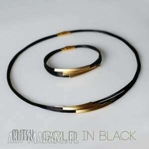 Prezent KOMPLET GOLD IN BLACK, nowoczesny, minimalistyczny, uniwersalny, prosty