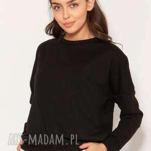 ręcznie zrobione bluzy bluza z geometrycznymi cięciami, blu148 czarny