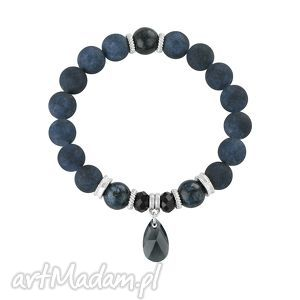 Dark navy blue., jadeit, swarovski, bransoleta