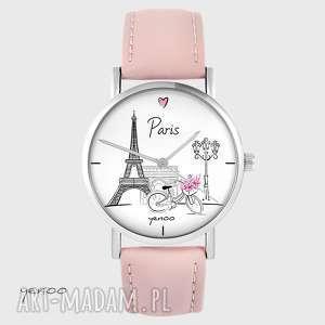zegarek - paryż pudrowy róż, zegarek, bransoletka, skórzany, paryż, podróż