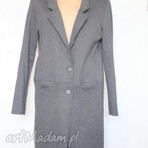 szary damski dzianinowy dresowy płaszcz - płaszcz, dresowy, szary, dzianina