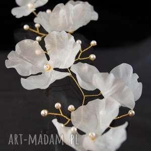 hand-made ozdoby do włosów gałązka z kwiatami