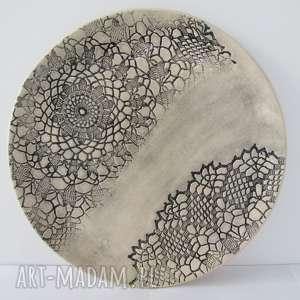 koronkowa patera - ,ceramiczna,talerz,ceramiczny,folkowy,koronkowy,