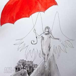 akwarela spacer z parasolem artystki plastyka adriany laube, akwarela, parasol