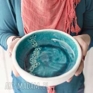 handmade ceramika miska minimal turkus płaska