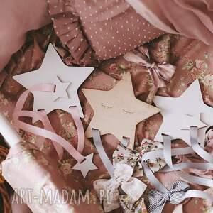handmade pokoik dziecka drewniany organizer na spinki biała gwiazdka