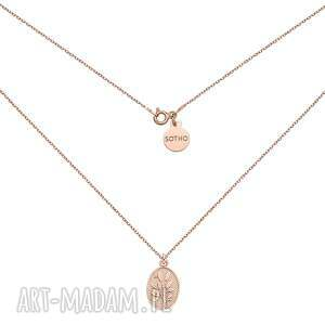 naszyjnik z medalionem z różowego złota - gałąź