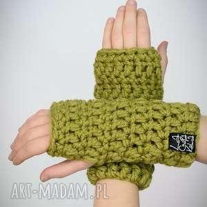 rękawiczki 13 - jasno zielone - mitenki zima, prezent, upominek komplet