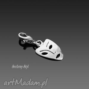 maska wenecka, srebro, maska, oksydowane, charms, metaloplastyka