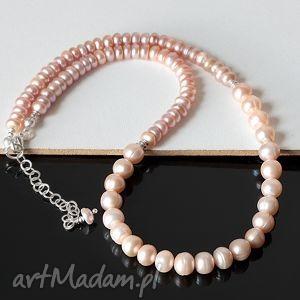 perły we wrzosach naszyjnik - perłyhodowlane, srebro, delikatny, elegancki, slub