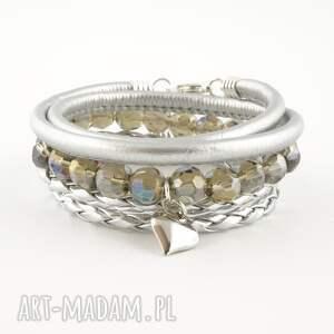 silver heart, bransoletka, komplet, szkło, rzemień, ekologiczny