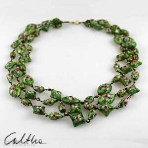 ręcznie robione naszyjniki naszyjnik cloisonne zielony