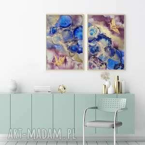 art is hard gallery obraz ręcznie malowany, abstrakcja do salonu, dwuelementowy