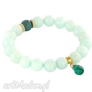 emerald & mint jade with crystal drop. - ,jadeit,kropla,