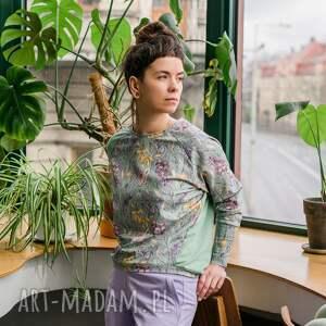 pastelowy komplet damski - flora, dres, dres w kwiaty, lila spodnie