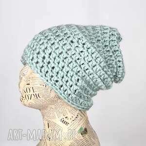 miętowa czapka wełniana koloroa 042, ciepła czapka, pomysł na prezent, beanie