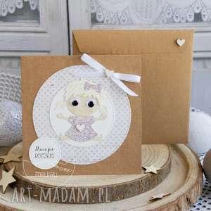 hand-made scrapbooking kartki personalizowana kartka dla dziewczynki - narodziny, chrzest, roczek