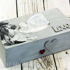 święta, chustecznik - love, chustecznik, pudełko, na, chusteczki, roamantyczne