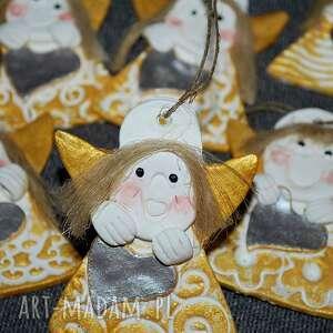 dekoracje srebrne serca - aniołki z modeliny, anioł, święta, prezent dla gości
