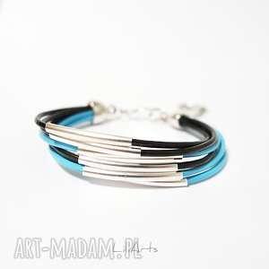 bransoletka - niebieska, ciemno brązowa rzemienie, skórzana, metalowe rurki
