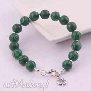 Zielone cętki, bransoletka z malachitu dla Pani Justyny - ,bransoletka,malachit,srebro,