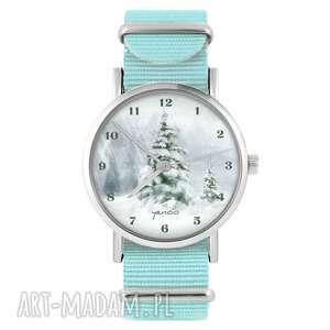zegarek - zimowy, choinka niebieski, nylonowy, zegarek, nylonowy pasek, typ