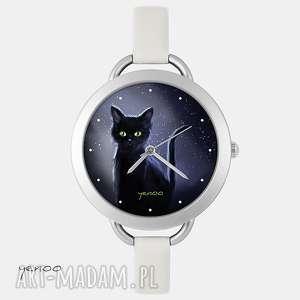 Prezent Zegarek, bransoletka - Czarny kot, noc szary, zegarek,