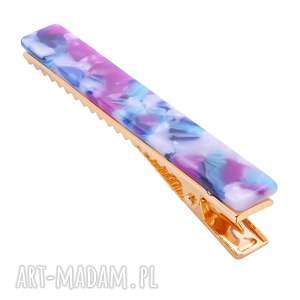 prostokątna spinka z fioletowej żywicy - złote ozdoby