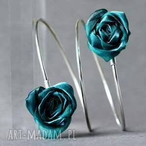 szmaragdowa bransoletka z różyczkami, kwiatowa ze srebra, bransoleta