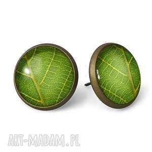 liście - kolczyki sztyfty - zielone kolczyki, wkręty, prezent