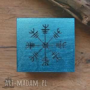 ręcznie malowane drewniane pudełko aegishjalmur - turkusowe - wiking, wikingowie