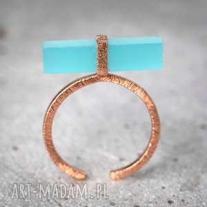 925 /18k Pozłacany pierścionek Aqua Chalcedon