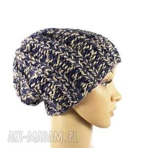 grubaśna czapka melanżowa robiona na drutach, czapka, melanżowa, robionanadrutach