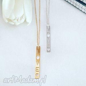 Naszyjnik celebrytka love, charms, blaszka, łańcuszek, modny, fashion