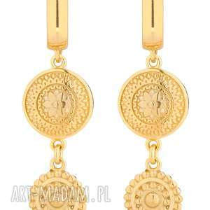 złote długie kolczyki z rozetkami - żółte kolczyki
