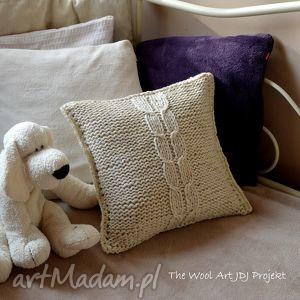 the wool art dziergana poszewka na poduszkę, poszewka, poduszka, beż, włóczka