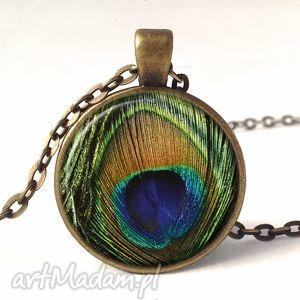 pawie oko - medalion z łańcuszkiem - pióra, naszyjnik, prezent