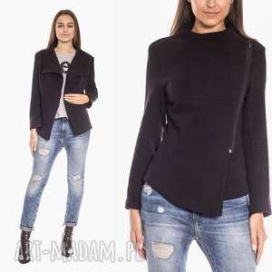 bluzy bien fashion taliowana bluza damska z asymetrycznym zamkiem, asymetryczna
