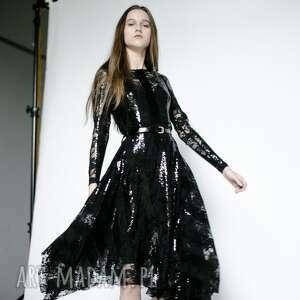 sukienki sukienka cekinowa w pasy, sukienka, suknia, cekiny, koronka, rokowa