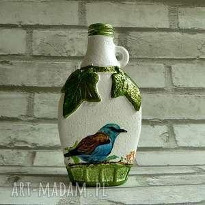 butelka z kolekcji die verzauberte natur, ptak, butelka, dekoracja, decoupage