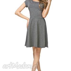 Bawełniana rozkloszowana sukienka T184, szary, sukienka, bawełniana,