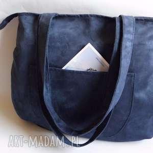 artmanual wielka torba na ramię xxl, torba, duża, pojemna, a4, granatowy, zamek