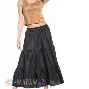 spódnice spódnica maxi z dwoma falbanami, t339, czarna, spódnica, maxi, guma
