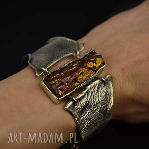 duża bransoletka z oryginalnym kamieniem srebro, bransoleta